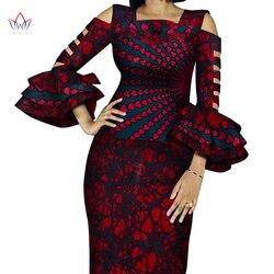 Anpassen Afrikanische Druck Rüschen Hülse Tops und Rock Sets für Frauen Bazin Riche Afrikanischen Kleidung 2 Stück Röcke Sets WY4300
