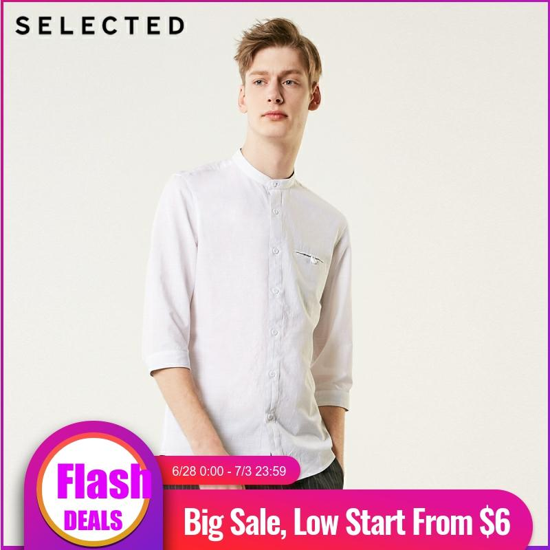SELECTED Men's Slim Fit Pure Color Cotton 3/4 Sleeves Business Casual Shirt S|419231503