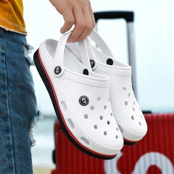 Мужские сандалии с мягкой подошвой, из ЭВА, дышащие, удобные, пляжные тапки, клоги, с ремешком на щиколотке, 2020