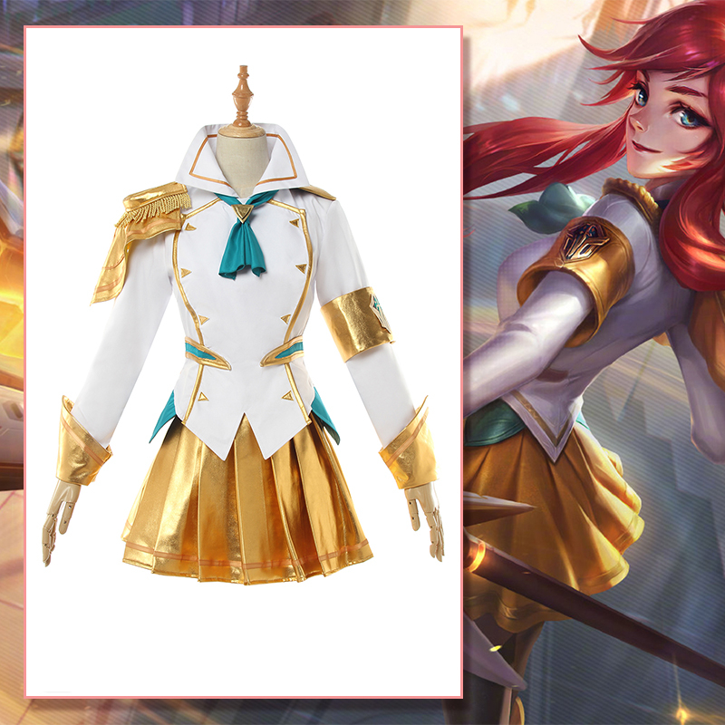 [STOCK] Game LOL Lux Battle Academia Prestige Uniform Golden Skirt Cosplay Costume Full Set  Women  Halloween Free Shipping 2020