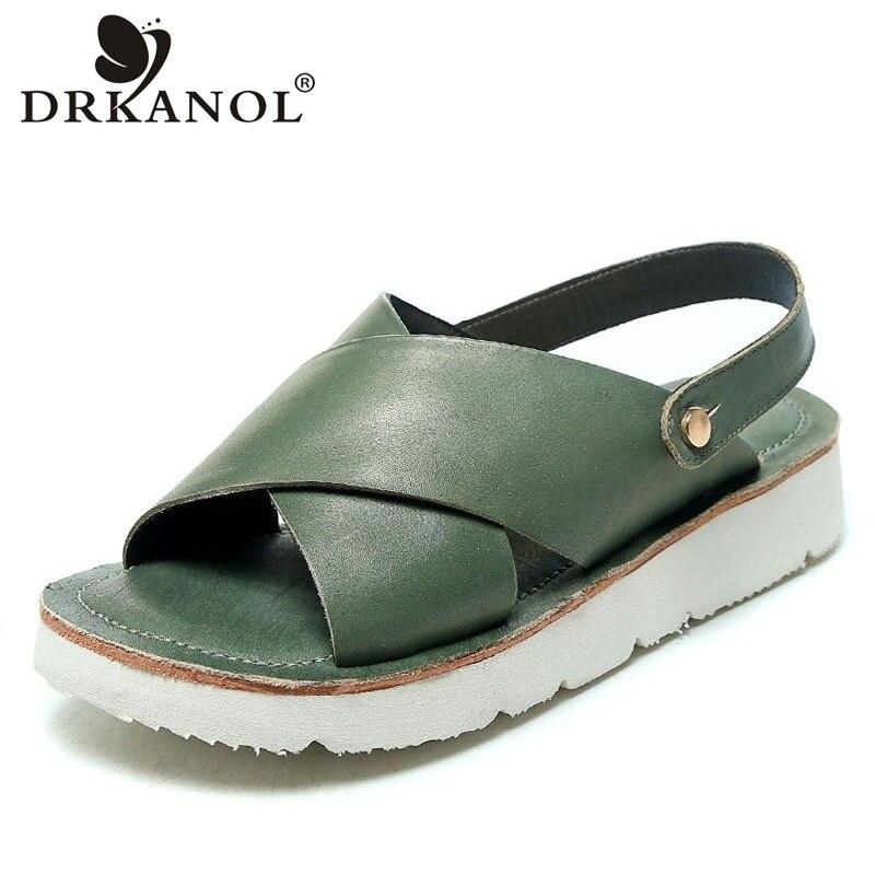 DRKANOL 2020 New Genuine Leather Women Sandals Summer Open Toe Shoes Ladies Cross Slingback Casual Flat Sandals Slippers Women