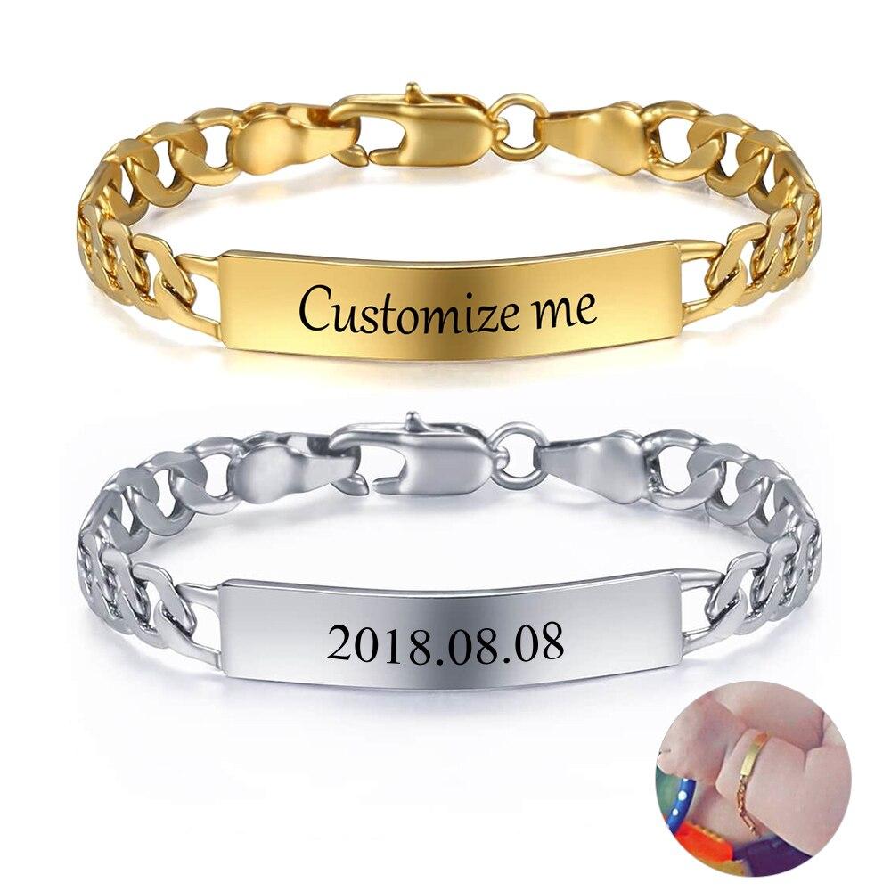 Bracelet personnalisé pour bébé, couleur or argent, lien Figaro, nom de naissance, ID, pour filles et garçons, cadeau Unique, GBM100