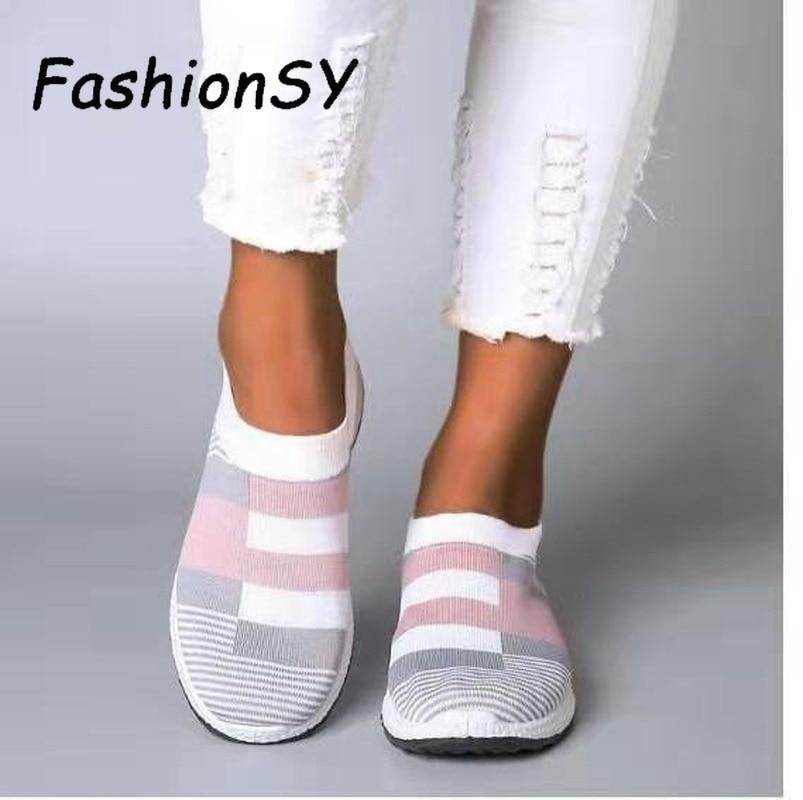 New Women Sneakers Vulcanized Shoes Sock Sneakers Women Summer Slip On Flat Shoes Women Plus Size Loafers