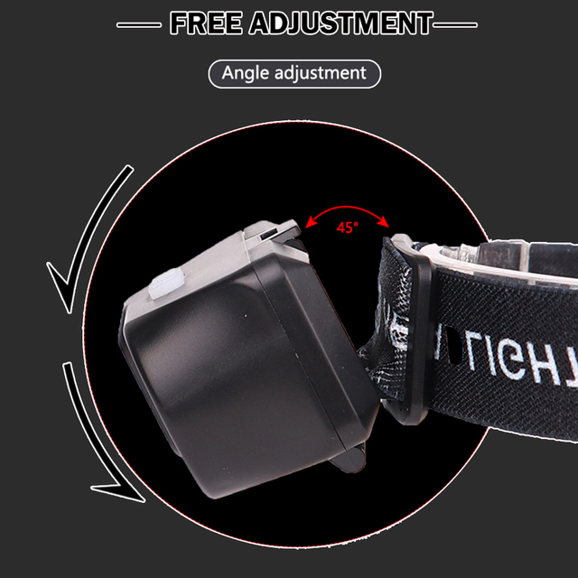 LED Headlamp Q5+COB Double switch Portable mini heading light 3 modes built-in USB Rechargeable battery headlight night fishing 5