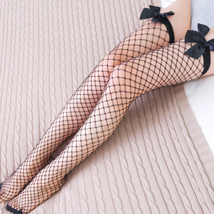 Sexy Women's Hosiery Lace Top Stay Up Thigh High Stockings Hollow Out Mesh White Black Nylon Over Knee High Stocking Lingerie