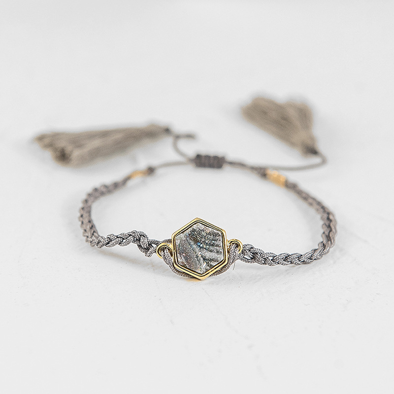 Fever Free Woven Gray Rope Hexagon Natural Stone Bracelets Bohemia Ethnic Tassel Bangles Bracelets Vintage Womens Jewellery Gift in Charm Bracelets from Jewelry Accessories