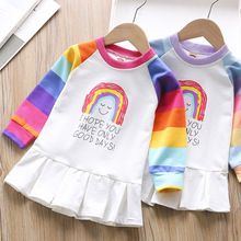 Little Kid Rainbow Dress Girl Long Sleeve Clothes Spring Fall Kids Dresses for Girls Smocked Dress for Girls Patchwork Clothing fhadst new striped patchwork character girl dresses long sleeve cute mouse children clothing kids girls dress denim kids clothes