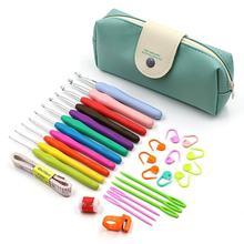 11 pçs/set alça macia kit de ganchos de crochê de alumínio fio agulhas de tricô ferramentas de costura conjunto aperto ergonômico crochê com saco de armazenamento