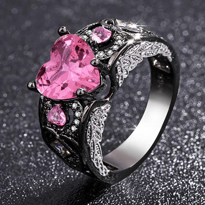 แฟชั่นคริสตัลแหวนผู้หญิงเครื่องประดับงานแต่งงานแหวนสีชมพูสีแดงแหวน Zircon Lady Rhinestone แหวนหมั้นสำหรับหญิงของขวัญ