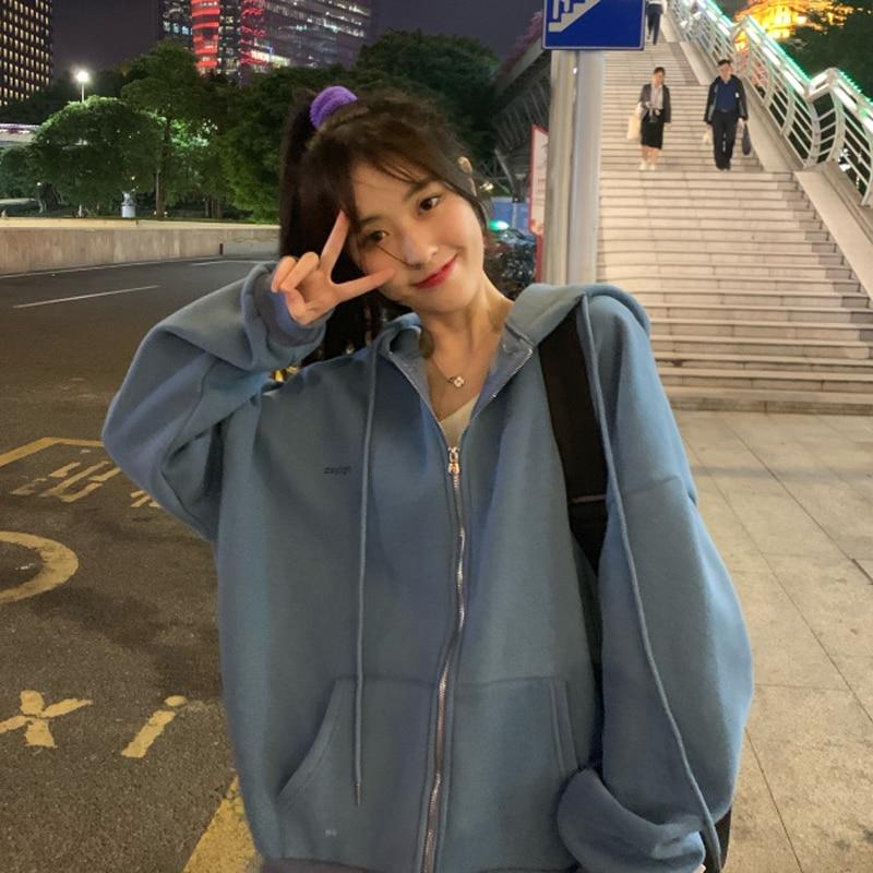 Zip-up Frauen Koreanischen Stil hoodies Vintage Einfarbig Langarm Übergroßen Mit Kapuze Sweatshirt Dame Frauen Casual Große Mäntel