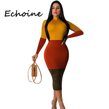 Echoine Plus Size Color Patchwork Dress Long Sleeve O-neck Slinky Bodycon Long Dresses Woman Party Night Autumn Vestidos цена