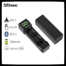 SDpure TWS Wireless Headphone Bluetooth V5.1 IPX7,Earphones 9D HIFI Stereo LED Display Sports Waterproof Noise Reduction Earbuds