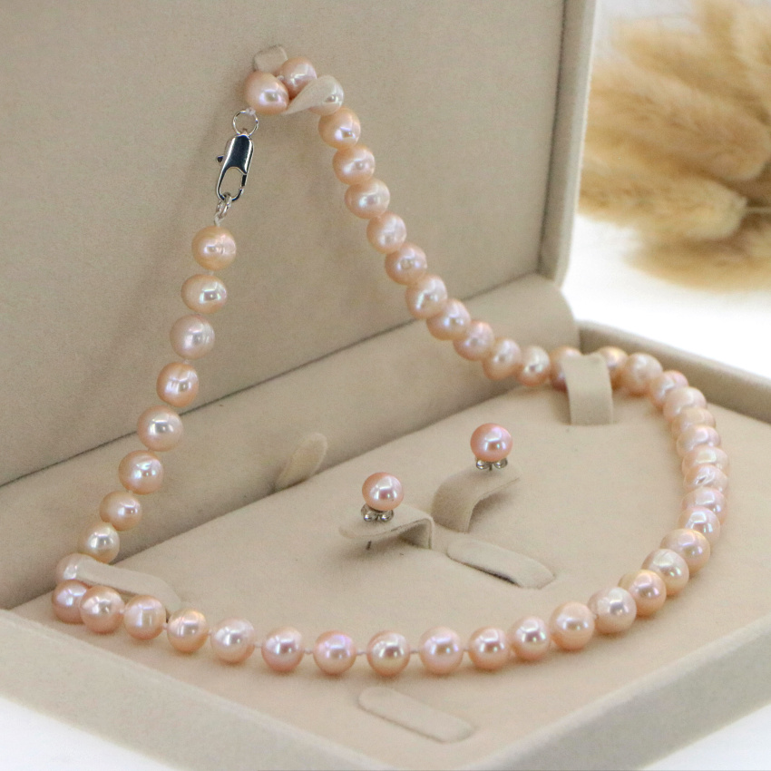 """Beautiful 8-9mm White Akoya Pearl Necklace Earring 17.5"""" Wedding Jewelry Sets for Women In Jewelry Sets Gift Wholesale 2"""