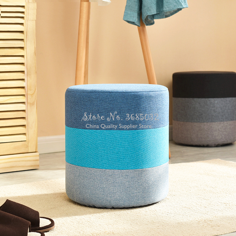 Nordic Rainbow Makeup Stool Modern Sofa Foot Stools Creative Short Stool Fabric Change Shoes Stool