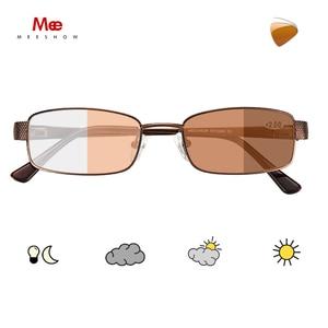 Image 2 - Meeshow fotokromik okuma gözlüğü anti UV400 erkekler paslanmaz çelik gözlükleri diyoptri okuma gözlüğü + 1.5 + 2.5 WT0340
