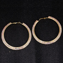 TDQUEEN AB Crystal Hoop Earrings Silver Plated and Gold Color Metal Round Circle Rhinestone Large for Women