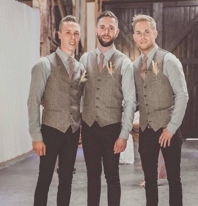 Rustic Wool  Brown Groom Vests Wedding Country Tweed Slim Fit Wedding Party For Men Attire Groomsmen Vest Prom