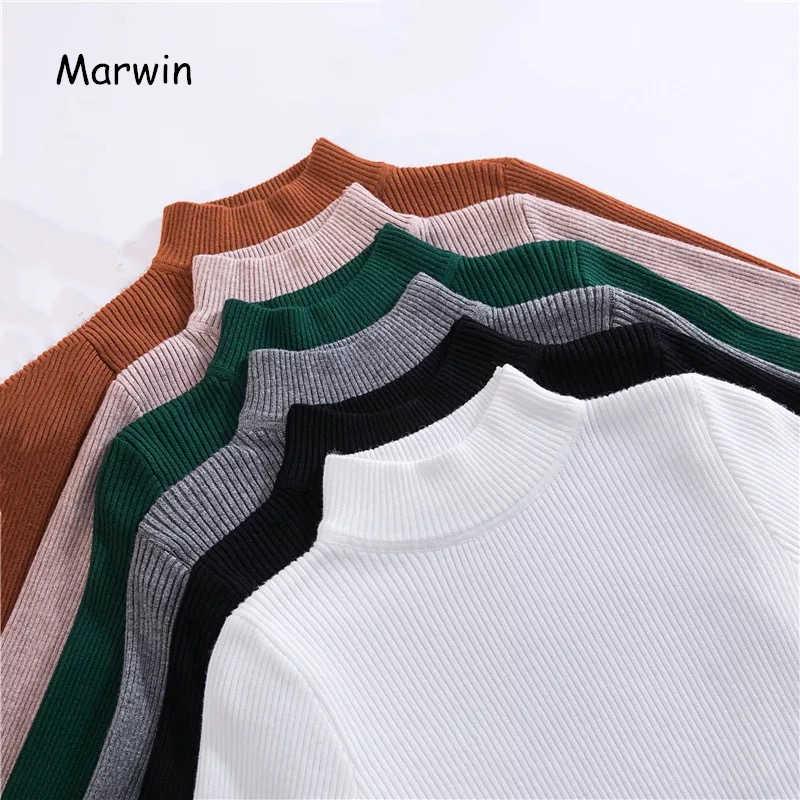 Marwin Mới-Đến Mùa Thu Đông Cao Cổ Áo Thun Áo Len Lót Áo Sơ Mi Dài Tay Ngắn Slim Hàn Quốc-Phù Hợp Chặt Áo Len