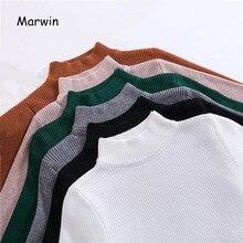 Marwin nouveauté automne hiver hauts pulls à col roulé chandails apprêt chemise à manches longues court coréen Slim-fit pull serré