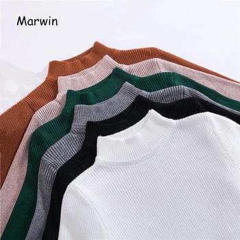 Marwin nowy-nadchodzącą jesień zimowe bluzki swetry z golfem swetry koszulka z długim rękawem krótki koreański Slim-fit obcisły sweter tanie i dobre opinie marwin friend COTTON Poliester Modalne CN (pochodzenie) Wiosna jesień cotton Polyester Model Ręcznie dziane Stałe 9915