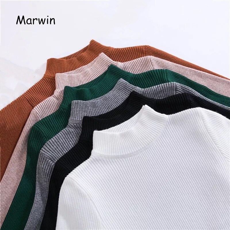 Suéter ajustado coreano corto manga larga jerseys de cuello alto de otoño invierno Marwin