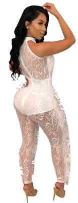 Double Side Feather Sexy Party Jumpsuits Women White Mesh Patchwork See Through Bodysuit Summer Black Hollow Out Romper AE76