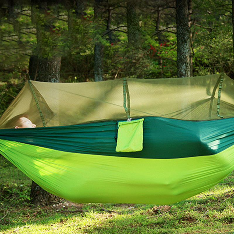 57Portable Outdoor Camping Hammock With Mosquito Net High Strength Parachute Fabric Hanging Bed Hunting Sleeping Swing