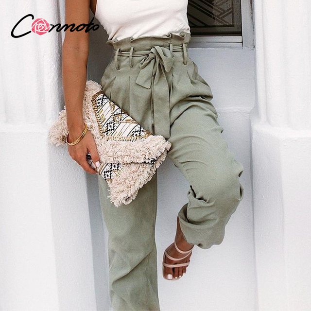 Conmoto Solid High Waist Trousers 1