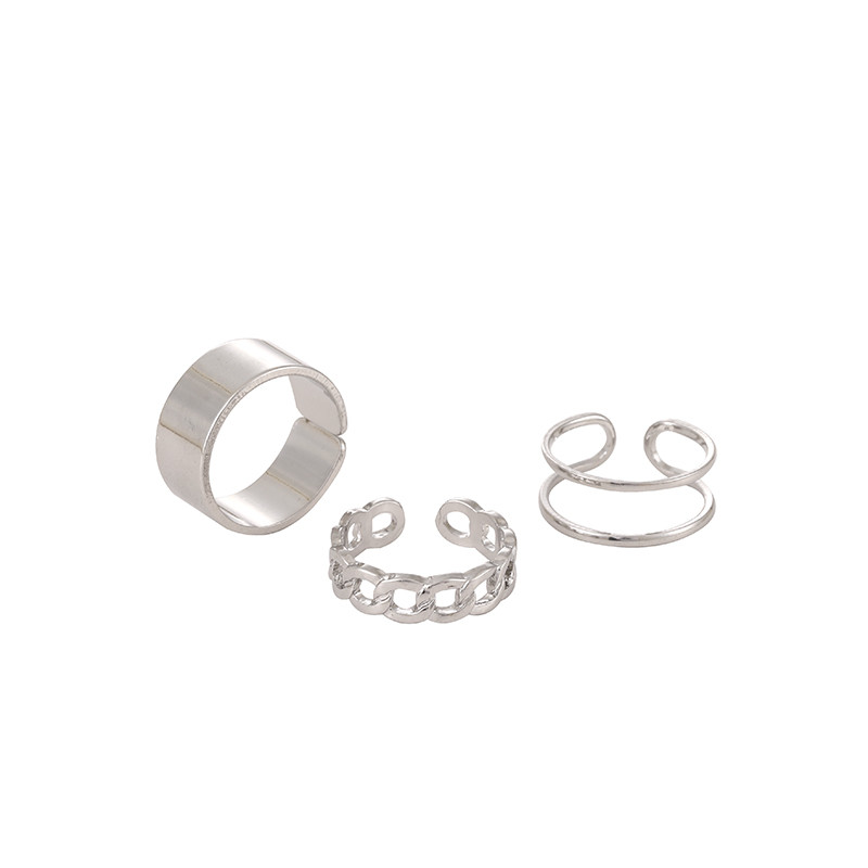Hollow Out Resizable Rings Set for Women Bands Wedding Jewelry Hip-hop rock Metal Copper Round 2020 New Geometric Christmas Gift