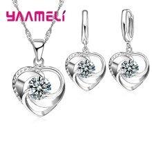 Ensemble collier et boucles d'oreilles en argent Sterling 925, longue chaîne, Style romantique doux, amour en forme de cœur pour femmes, femme