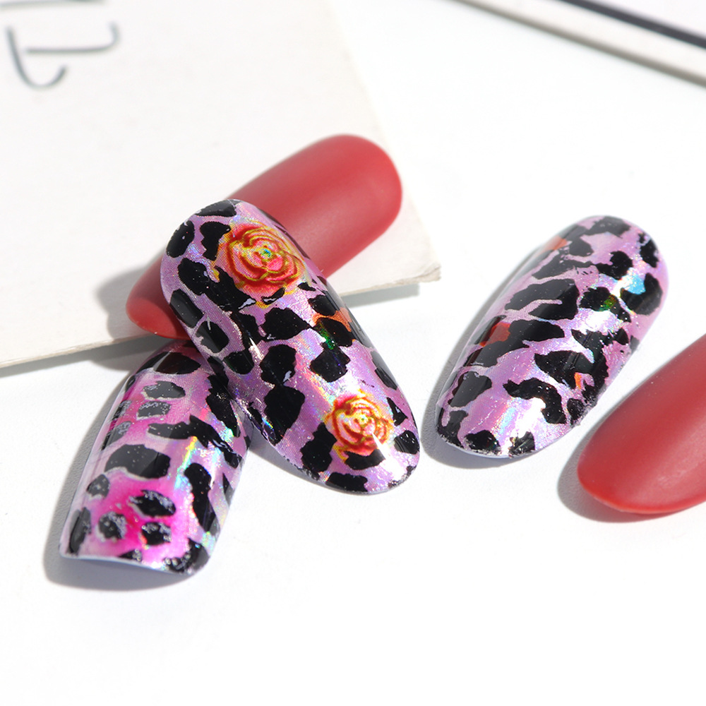 Cross Border For Factory Straight Connector Nail Sticker Europe And America Popular Color Leopord Pattern Nail Star Stickers Nai