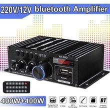 Ak380/ak370/ak170 400w * 2 2 canais bluetooth amplificador de potência alta fidelidade casa áudio do carro classe d controle remoto fm rádio aux usb/sd
