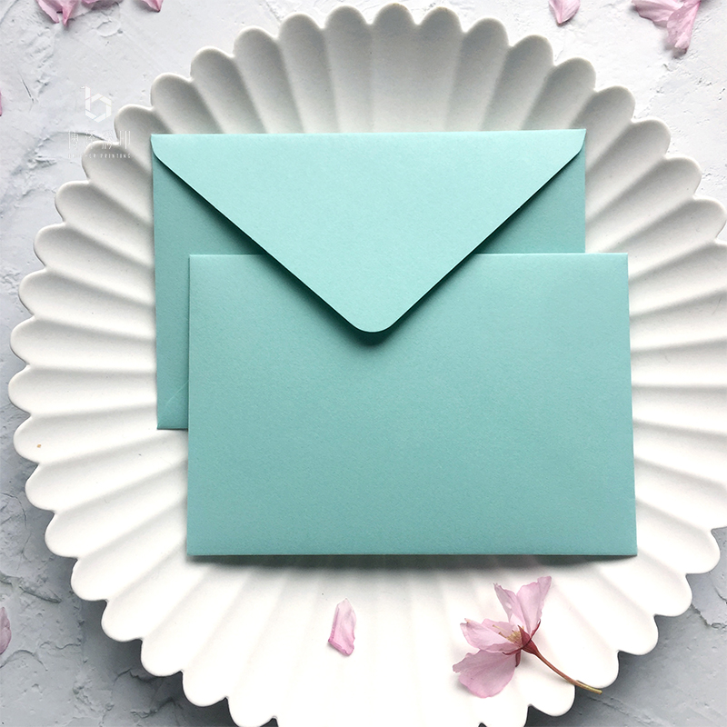 5pcs/pack Blue Wedding Envelopes Gauze Paper Luxury Window Envelopes Size 105mmx155mm