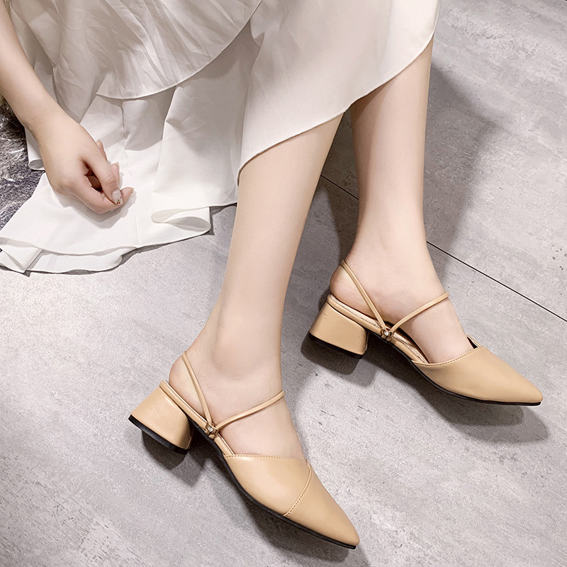 PU Leather High heels pumps women shoes 2019 Summer shoes women Fashion Pointed Square heel sandals women Slip-On Casual shoes 4