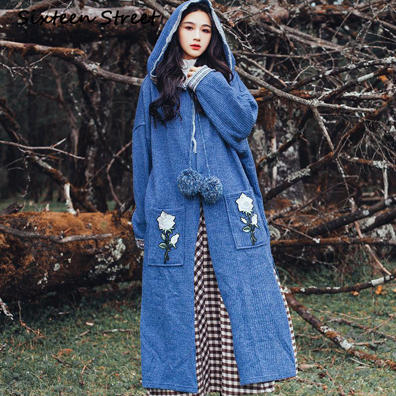 Boho Gray Blue Long Sweater Coat Woman Rose Embroidery Pocket Vintage Chic Fashion Knitter Coat With Hooded Female Autumn Cloth