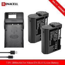 EN-EL15 EN EL15a Caméra Batterie + Chargeur Batteries De Remplacement Pour Nikon d750 d7200 d7500 d850 d7100 d610 d500 MH-25a d7000 z6 Z5