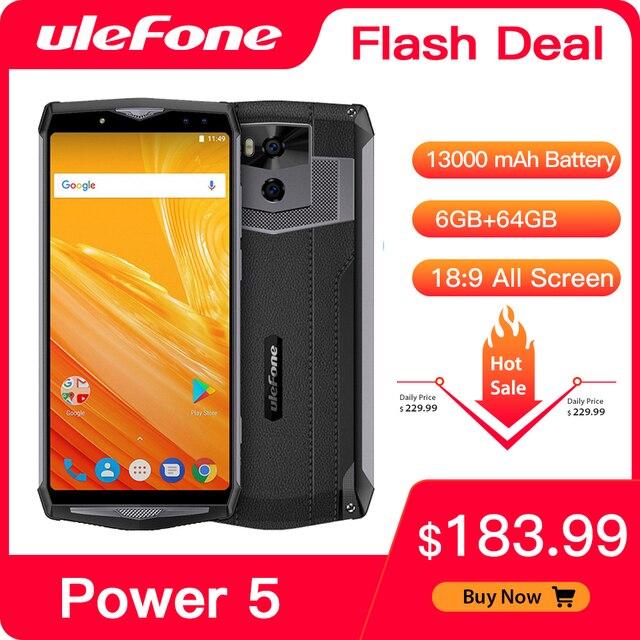 "Ulefone Potenza 5 13000mAh 4G Smartphone 6.0 ""FHD MTK6763 Octa Core Android 8.1 6GB + 64GB 21MP di carica Wireless Fingprint Viso ID"