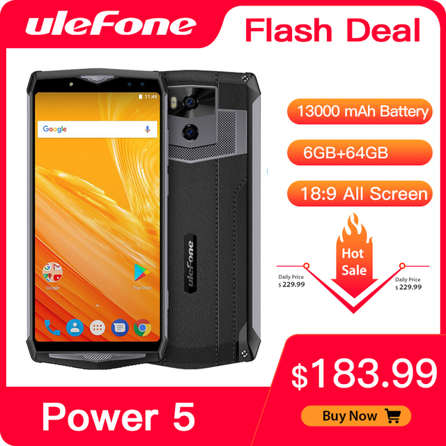 "Ulefone Power 5 13000Mah 4G Smartphone 6.0 ""Fhd MTK6763 Octa Core Android 8.1 6Gb + 64gb 21MP Draadloze Lading Fingprint Gezicht Id"