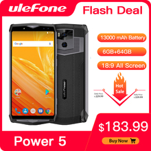 """Ulefone Power 5 13000mAh 4G Smartphone 6.0"""" FHD MTK6763 Octa Core Android 8.1 6GB+64GB 21MP Wireless charge Fingprint Face ID"""