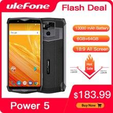 "Ulefone power 5 13000mah 4g smartphone 6.0 ""fhd mtk6763 octa núcleo android 8.1 6gb + 64gb 21mp carga sem fio fingprint face id"