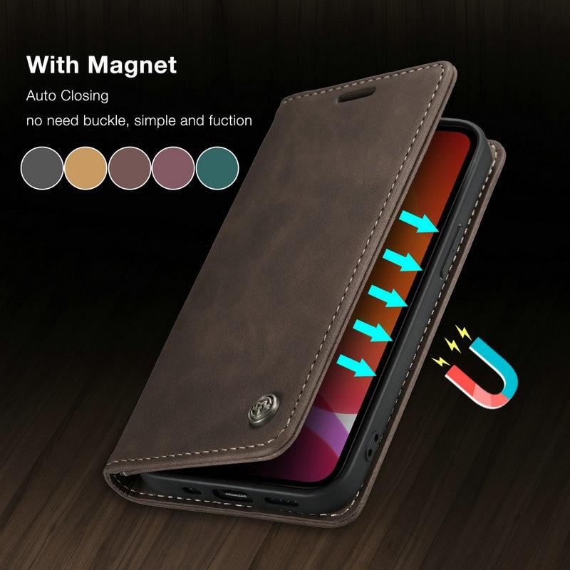Чехол-книжка CaseMe для iPhone, винтажный кожаный мини-Чехол-бумажник в стиле ретро для iPhone 11, 12, SE20, 7, 8 Plus, XS, 12 Pro Max