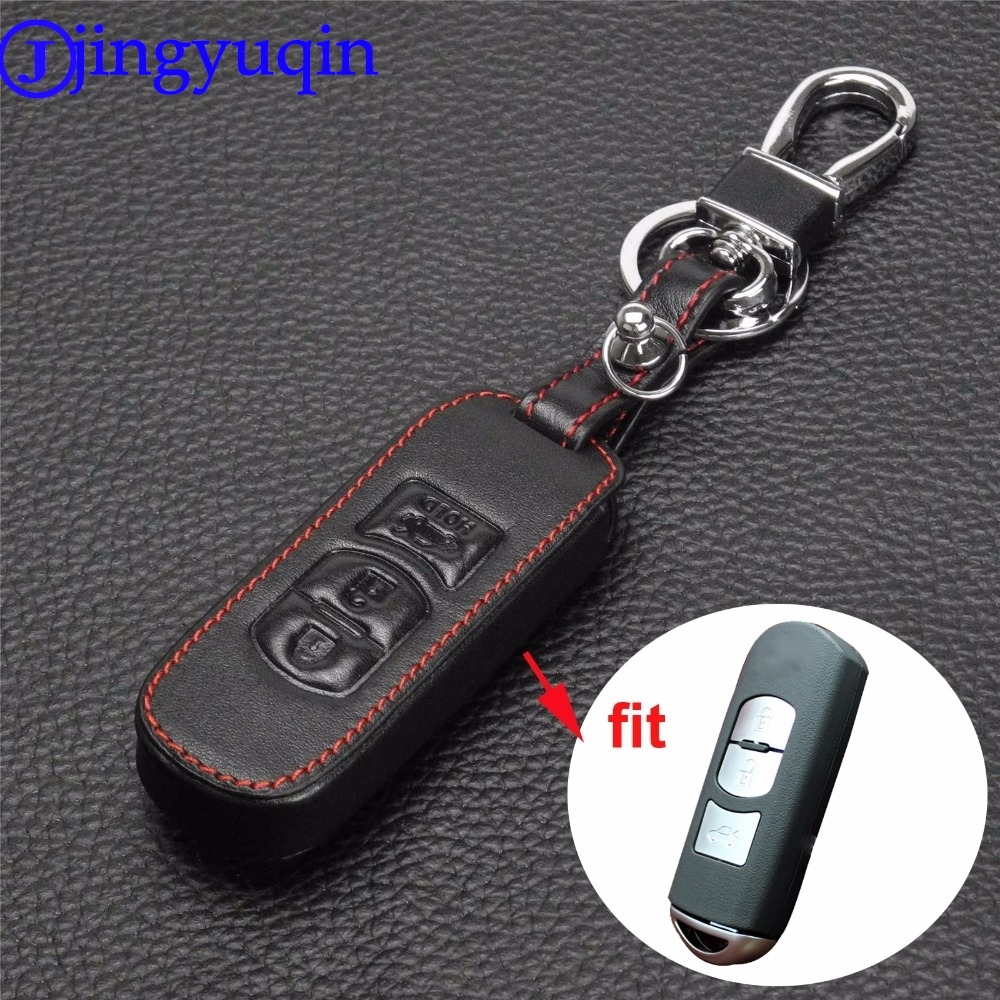 jingyuqin Remote 3 Buttons Genuine Leather Car Key Bag Holder Case Cover protector For Mazda 6/3 2014 2015 Cx-5 Cx-7 Cx-9 image