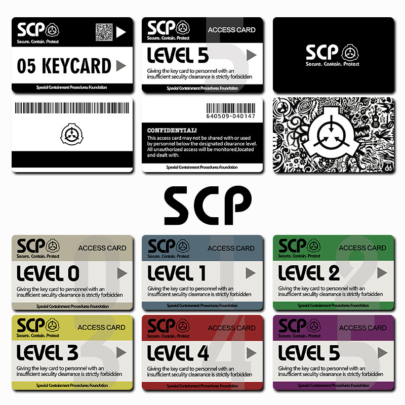 Card Stickers SCP Special Containment Procedures Foundation Logo Cosplay Access Grade Card