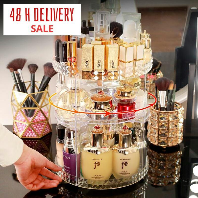360 Degree Rotating Cosmetic Storage Box Makeup Organizer Cosmetics Storage Rack Fashion Crystal helf Display Stand High Capacit(China)
