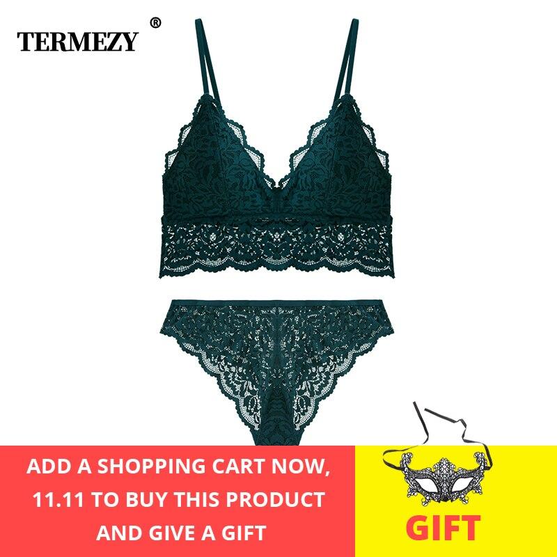 TERMEZY Women Lace Bra Set Lingerie Sexy Underwear set Ladies Jacquard soft Comfortable
