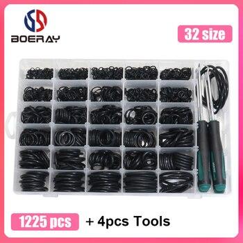 1225pcs O Ring Kit + 4pcs Tools NBR Sealing Rings Nitrile Rubber Ring Gasket 32 Sizes O Rings Seal Set kit 419pcs o ring o ring black rubber 32 sizes with case 3 50mm