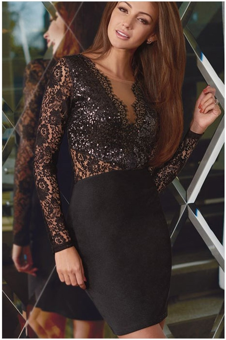 Vestidos Black Sequined Lace Long Sleeve Prom New Design Sexy Deep V-neck Short Free Shipping Mother Of The Bride Dresses