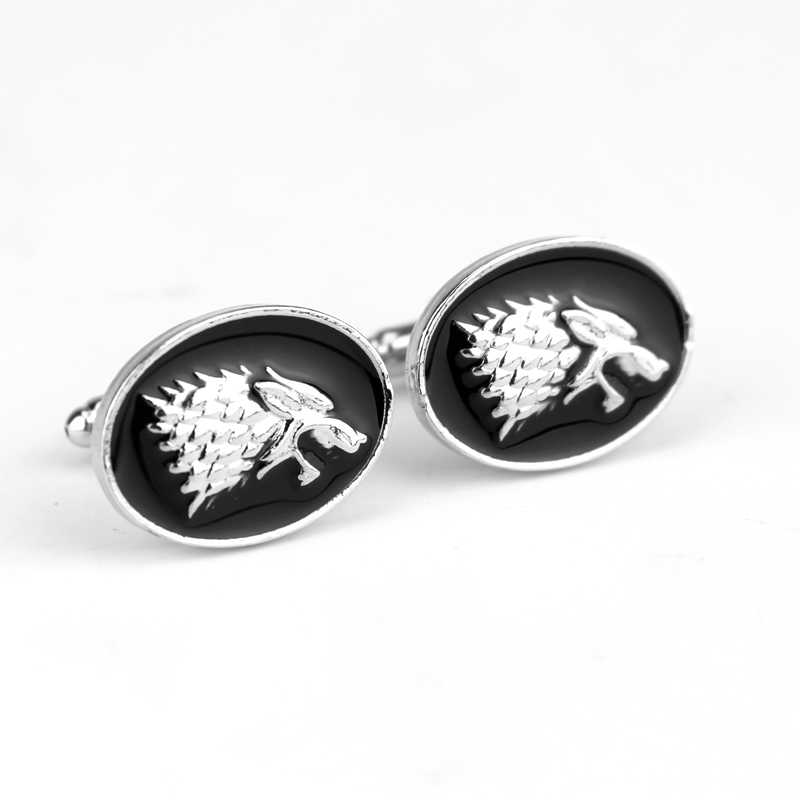 Dongsheng moda Vintage film oyun Thrones Stark kol düğmeleri erkek gömlek kol düğmeleri düğün parti lüks erkek kol düğmeleri-40