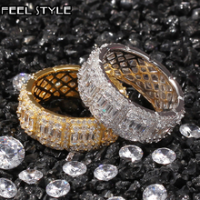 8MM 10MM Full CZ Cubic Zircon Charm Iced Out Bling Tready Copper Zircon Ring For Men Women Hip Hop Jewelry Gold Gold