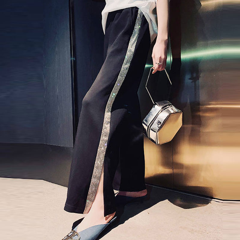 2020 Korean Casual Wide Leg Pants Split Capris Bright Drill Side Stripe Harajuku Trousers For Women High Waist Pants Women 269